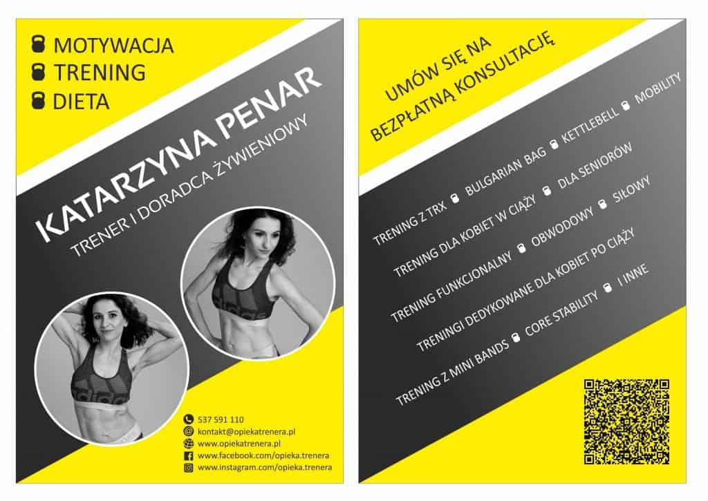 Ulotka Reklamowa Katarzyna Penar Trener i Dodadca Żywieniowy